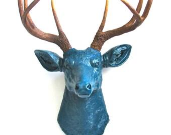 DARK PEACOCK- Nat. Faux Taxidermy Deer Head Deerman the Deer Head wall hanging wall mount in dark peacock blue with natural looking antlers