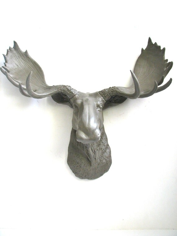 Lite brown faux taxidermy moose head wall hanging wall mount - Fake moose head mount ...