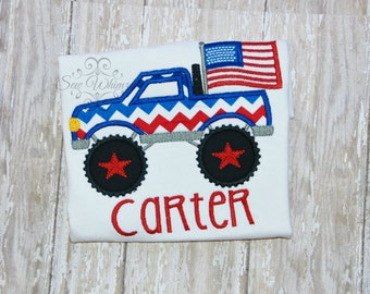 Monster truck Shirt- Boys 4th of July Truck Shirt- Boy Applique Holiday Shirt- Flag Monster Truck- Boy Monogram- Personalize- Patriotic- Boy