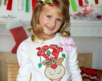 Christmas reindeer shirt or bodysuit- Christmas shirt-Rudolph shirt- Reindeer shirt- Girl's christmas shirt- Monogram shirt- Custom shirt