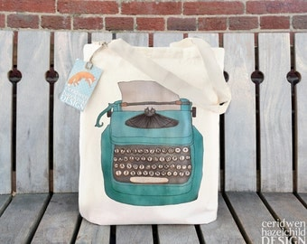 Typewriter Tote Bag, Ethically Produced Reusable Shopper Bag, Cotton Tote, Shopping Bag, Eco Tote Bag, Reusable Grocery Bag