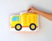 Yellow Truck Toy, Vehicle Stuffed Toy, Stuffed Boy Pillow, Soft Stuffed, Toy Pillow, Soft Pillow, Kids Pillow