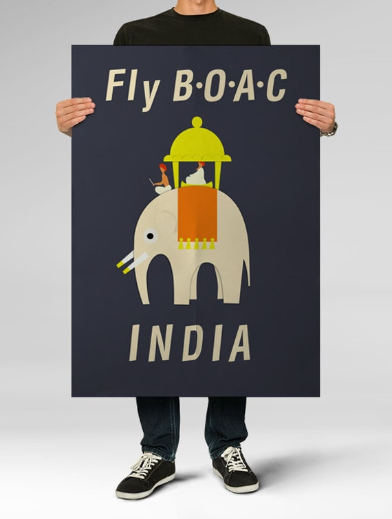 Poster Fly BOAC INDIA Airline , Vintage Poster, Children Print, Nursery Art, Wall Decor, Retro Print Oversized Poster Print