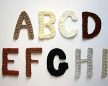 """1pc 3.75"""" Crochet  ALPHABET Applique Plain Neutral - Earth tone Colors"""