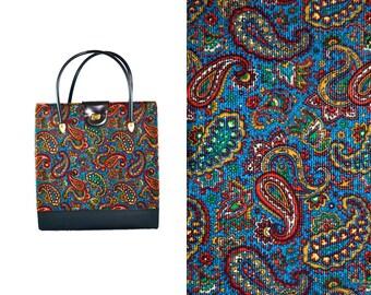 1960s Vintage Paisley Corduroy Tote Handbag