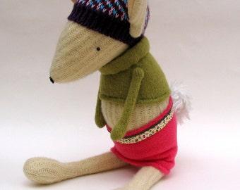 SALE  -  Cream Woollen Rabbit - Handmade rabbit wearing woollen pixie hat and pink fleece skirt.