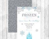 Frozen Party Ice Princess Themed Birthday Invitation or Evite - Ice Queen - Winter Wonderland - Double Sided - Silver glitter