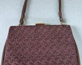 vintage 1960s Joyland lace and suedette handbag - elegant vintage handbag - broderie anglaise front - suedette handbag - vintage accessory