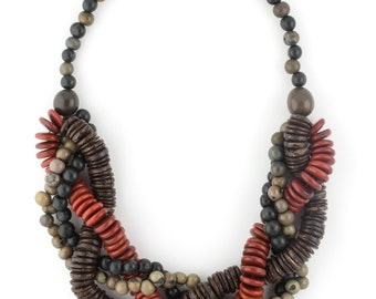 Tagua Mixed Seed Statement Necklace / Seed Jewelry / Tagua Jewelry / Acai Jewelry / Acai Necklace / Statement Necklace / Coconut Necklace