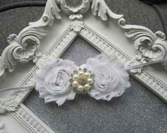 Hair Accessories-White-Shabby -Pearls-Flower Headband-Wedding-Bridal-Flowers for Hair-Bridesmaid-Flower Girl-Baptism-Infant-Baby