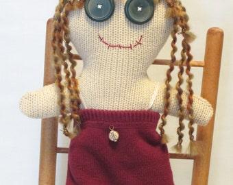 Button Eyed Rag Doll, Plush Cloth Doll, Stuffed Doll