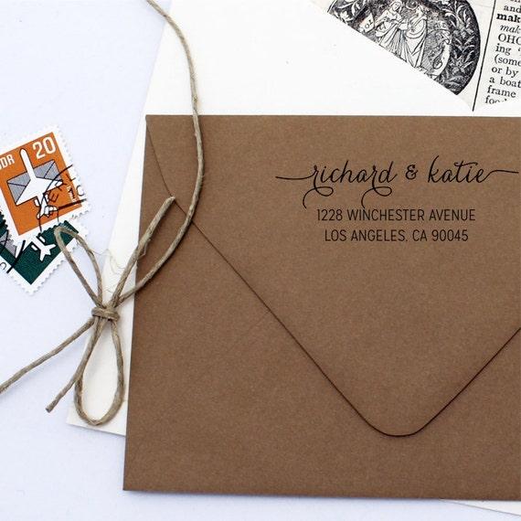 Custom Self Inking Address Stamp - Cursive Script Return Address Stamp