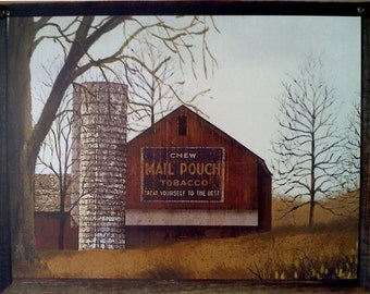 Billy Jacobs Picture Plaque, Featuring A Beautiful Mail Pouch Barn , Primitive Art , Folk Art , Perfect Gift , Handmade in USA