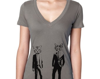 Women's Cat T-Shirt Deep V Neck Cat's in Suits