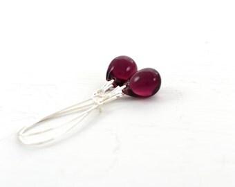 Purple Earrings, Purple Drop Earrings, Purple Dangle Earrings, Long Purple Earrings, Purple Bridesmaid Jewelry, Purple Wedding Earrings UK