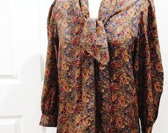 Vintage 80s paisley shirt/ handmade/ unique ascot tie/ / rich browns reds blues/ OOAK