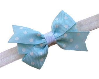 Light blue polka dot bow headband- light blue baby headband, newborn headband