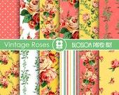 Yellow Digital Paper, Rose Digital Paper Pack, Floral Scrapbooking, Roses, Spring Scrapbook - INSTANT DOWNLOAD  - 1708