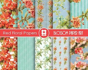 Digital Paper, Red Flowers Digital Paper Pack, INSTANT DOWNLOAD, Decoupage, Digital Paper - Printable - 1641