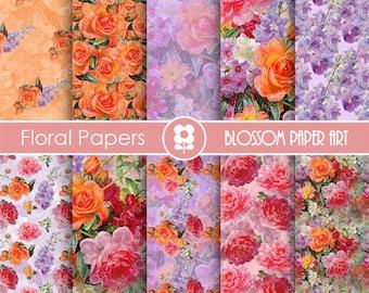 Floral Digital Paper Floral Paper Pack, Floral Collage Sheet, Digital Scrapbooking Pack - Decoupage - 1780