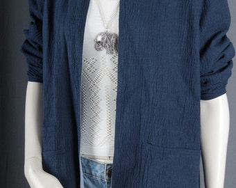 Kimono Blue Jacket Duster coat Blazer Reversible jacket Bohemian Gypsy women size M medium