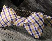 "Yellow & Purple Tattersall Self Tie Bow Tie (14.5""-18.5"")"