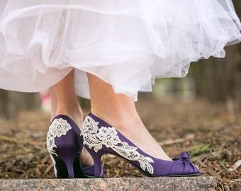 Sale Wedding Shoes - Low Purple Heels, Purple Wedding Heels, Purple Shoes with Ivory Lace. US Size 8