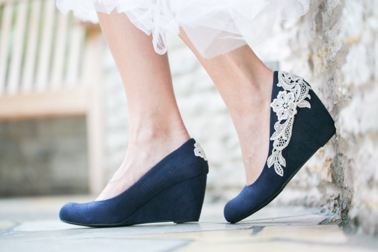 Wedding Shoes Navy Blue Wedges Bridal Heels Navy By
