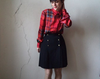 90s silk plaid print blouse/ CARLISLE/ 4