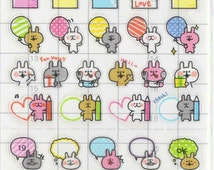 Kawaii Japan Sticker sheet Assort: Schedule Seal Series Derpy Bunnies Schedule Point Stickers