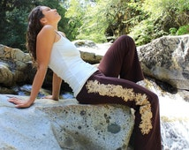 Henna Pants-pants yoga woman-tribal yoga pants-gypsy festival clothes-unique pants women-sexy yoga clothes-womens pants-festival pants-brown