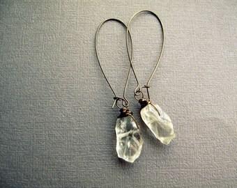 Raw Crystal Earrings - Green Amethyst Earrings - Boho Crystal Earrings - Crystal Dangle Earrings - Green Amethyst Jewelry - Boho Earrings