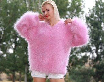 Lovely thick and fuzzy hand knitted mohair sweater in light pink, designed by SuperTanya