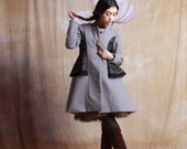 grey winter wool jacket warm coat long coat with lace