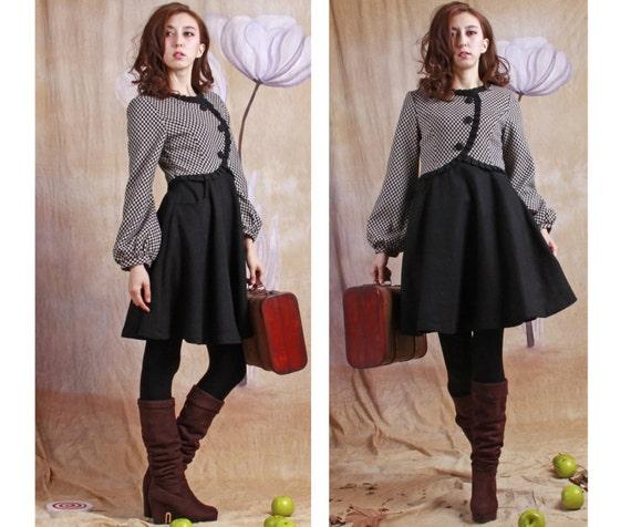 plaid wool dress---wool dress woolen dress lolita coat tutu dress wool dress