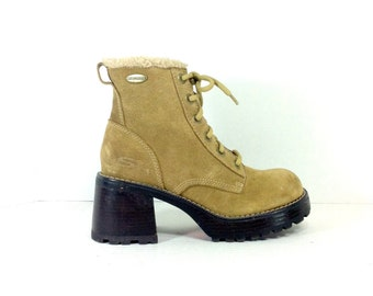 90s Platform Leather Lace Up Boots 6 - Chunk Heel Ankle Boots 6 - Grunge Bootie