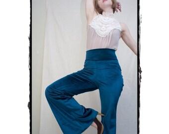 Velvet High Waisted Bell Bottom Pants