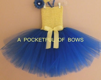 Toddler Birthday Tutu Dress, Yellow and Royal Tutu Dress, Yellow and Blue Tutu