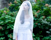 Flowing Silk Tulle Elbow Length Veil Double Layer with Blusher