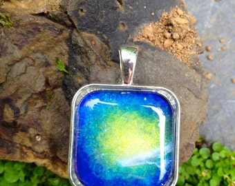 The Source of All Things Pendant - Unique art pendant - stars - galaxy - dove - white bird- aurora