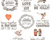 Winter Holiday Christmas Photo Overlays Word Art - Instant Download - OS103