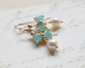 Mint Bow Earrings - Gold Pearl Earrings - Bridal Jewelry - Bridesmaid Gifts