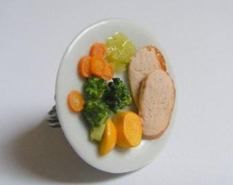 Food Jewelry Roast Pork Ring, Pork Dinner Ring, Sunday Dinner Ring, Polymer Clay Food Miniature Food Jewellery, Mini Food, Roast Dinner Ring