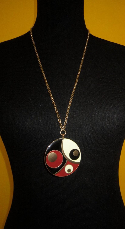 Vintage 60 s mid century retro mod art deco pop art gold red black and eggshell enamel painted - Deco pop art ...