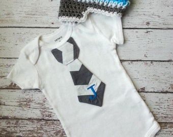 Baby boy tie one piece bodysuit and crochet hat set, chevron, custom initial, baby boy fashion, birthday outfit, gray and blue, photo prop