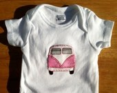Pink VW Bus Inspired Girl's Campervan Hippie Baby Bodysuit - You choose the size