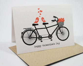 Valentine's Day Card - Black Tandem Bike with Love Birds and Red Flowers - HVD001 - Happy Valentine's Day