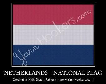 Dutch National Flag - Afghan Crochet Graph Pattern Chart by Yarn Hookers