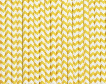 Bright Yellow and White Chevron Paper Straws