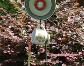 Hand Strung Wind Chime Suncatcher My Cup Runneth Over and Saucer Flower / Outdoors Garden / Decor / Mobile